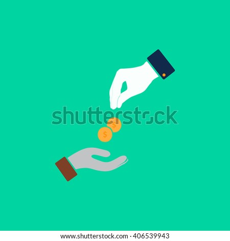 alms Flat icon on color background. Simple colorful pictogram - stock photo