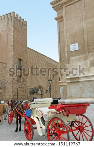 Almudaina palace and Cathedral of Palma de Majorca gothic monument Balearic islands Spain - stock photo
