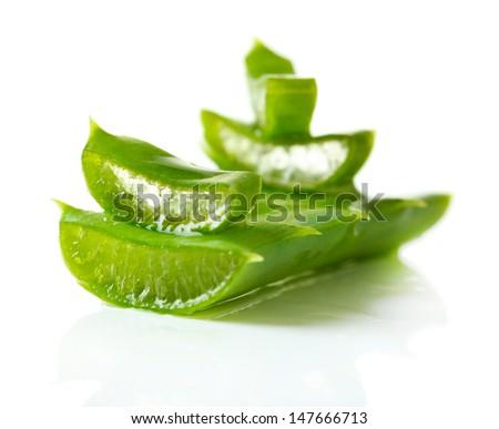 Aloe leaves, isolated on white - stock photo
