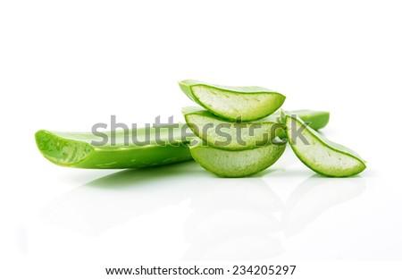 aloe vera fresh leaf isolated on white - stock photo
