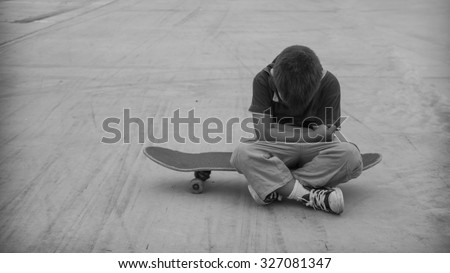 Alone and scared - stock photo