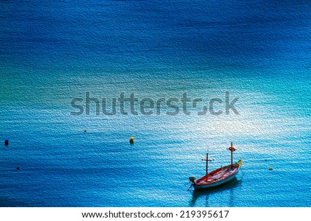 alone boat  oil painting style - stock photo