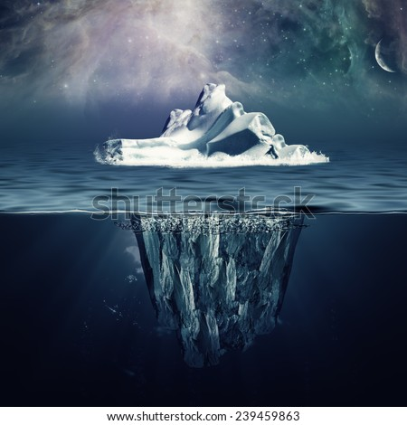 Alone iceberg in the ocean under beauty northern skies. NASA imagery used. - stock photo