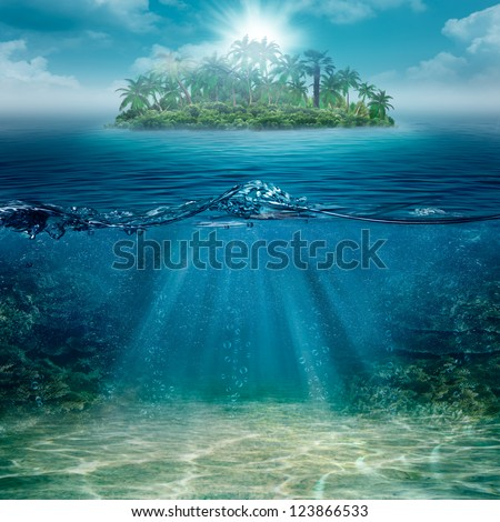 Alone island in the ocean, abstract natural backgrounds - stock photo