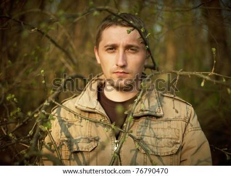 alone man - stock photo