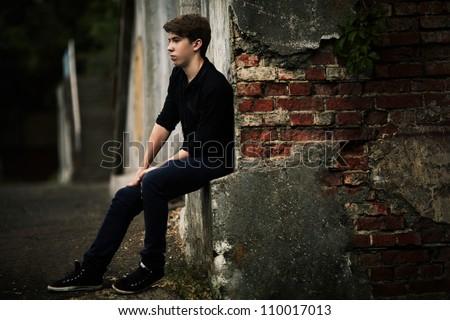 alone man. outdoor portrait - stock photo