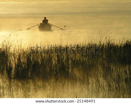 Alone on water - stock photo