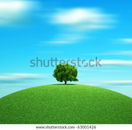 Alone tree on hill - 3d render illustration - stock photo