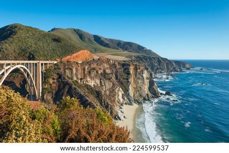 Along California State Route 1. Coastline Big Sur. Bixby Bridge - stock photo