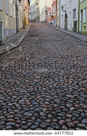 Along the street old town in Tallinn. Estonia - stock photo
