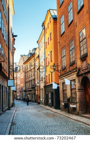 Along the streets of Gamla stan in Stockholm, Sweden. - stock photo
