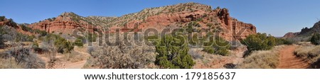 Along Upper Canyon Trail in Caprock Canyons State Park, Texas - stock photo