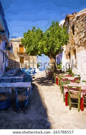 Alonissos Greek island street in the morning - Painting effect - stock photo