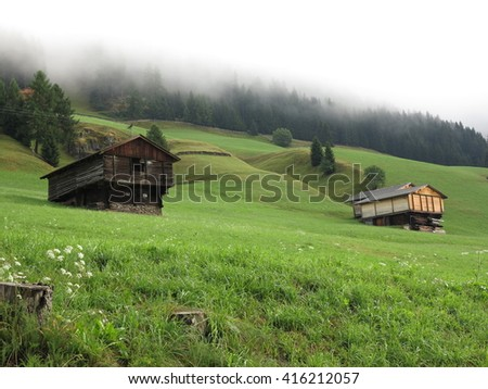 Alpen (Alps) mountains, Austria - traditional mountains village - stock photo