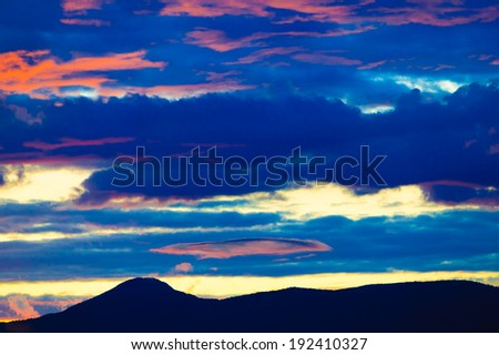 Alpen glow sunset over Mt. Mansfield, Stowe, Vermont, USA - stock photo
