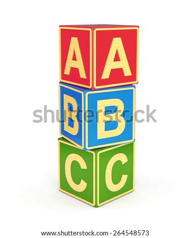 Alphabet ABC cubes with letters isolated on white background. Back to school and education concept. - stock photo