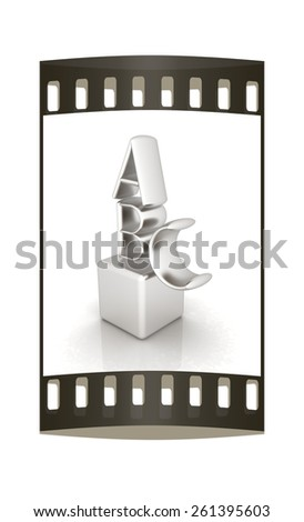 Alphabet and blocks on a white background. The film strip - stock photo