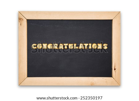 "Alphabet Biscuits ,word "" congratulations "" in chalkboard on white background. - stock photo"