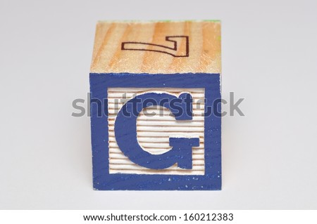 Alphabet block G isolated on a white background - stock photo