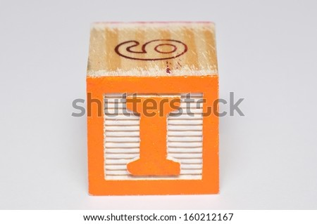 Alphabet block I isolated on a white background - stock photo
