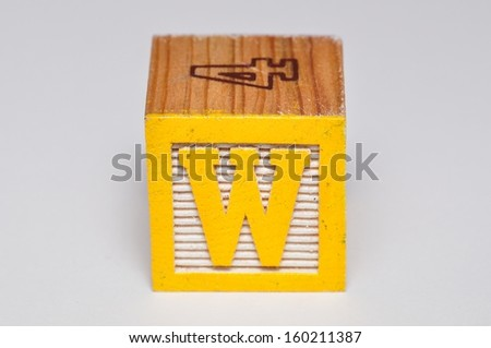 Alphabet block W isolated on a white background - stock photo