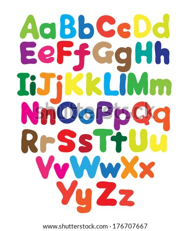 Alphabet bubble colored hand drawing in white background - stock photo