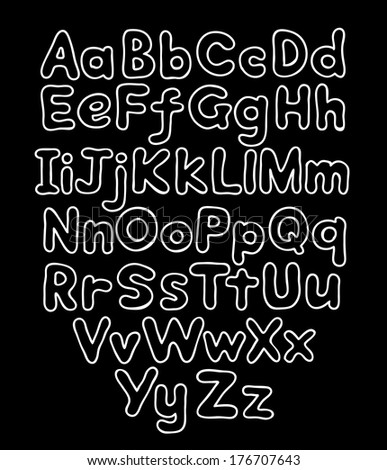 Alphabet bubble contour drawn hands - stock photo