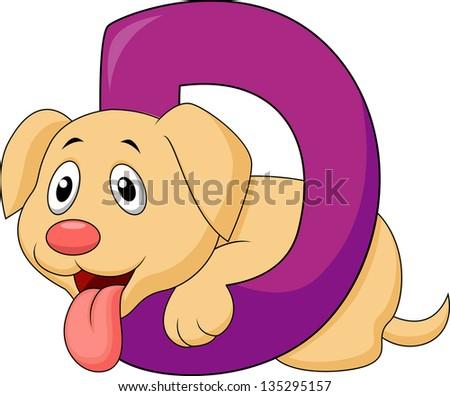Alphabet D with Dog cartoon - stock photo