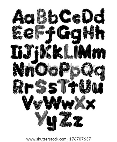 Alphabet doodle hand-drawing in white background - stock photo