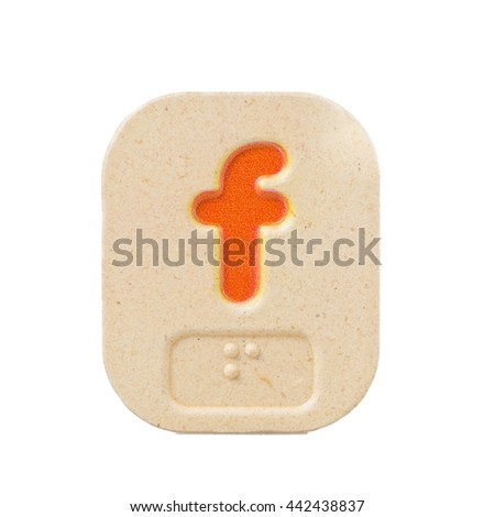 alphabet f on white background  with Braille. - stock photo