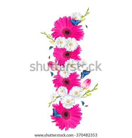 alphabet flower I, Gerber, tulips and butterfly isolated on white background.  - stock photo