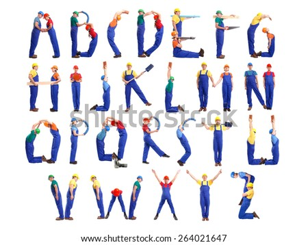 Alphabet formed from young people wearing industrial uniforms and helmets posing with various tools and accessories - stock photo