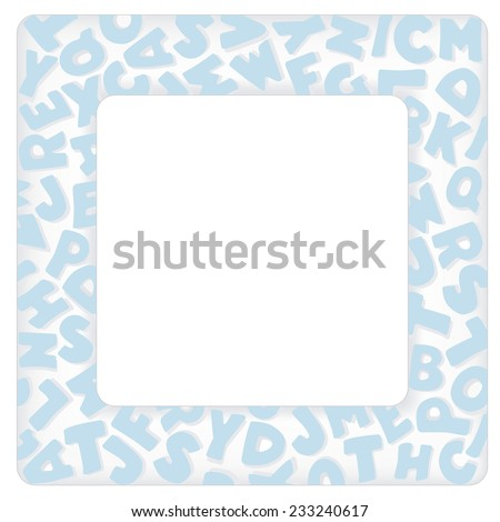 Alphabet Frame, square pastel blue letter border on white background with copy space for baby books, albums, scrap books, announcements, invitations, posters, DIY crafts.  - stock photo