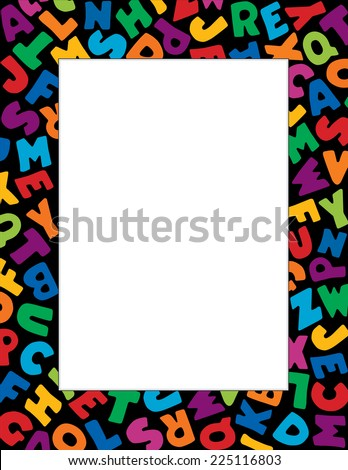 Alphabet Frame, vertical multicolor letter border, black background. Copy space for education, back to school announcements, posters, fliers, stationery, scrapbooks, albums, DIY projects. - stock photo