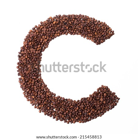 Alphabet from coffee beans. isolated on white.  - stock photo
