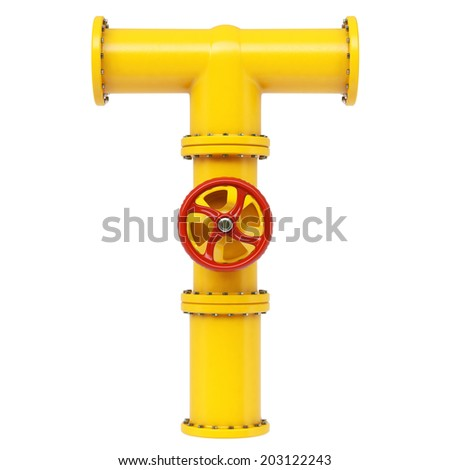 Alphabet from gas pipes. Isolated on white background. - stock photo