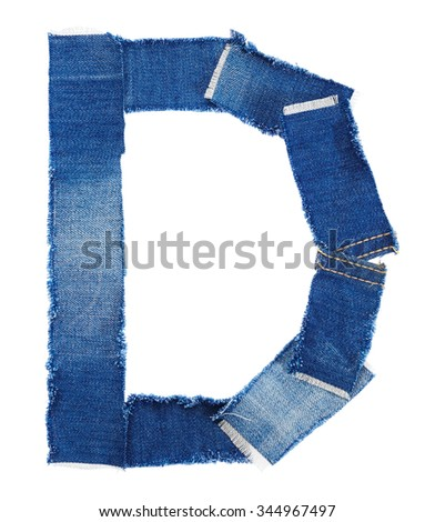 Alphabet from jeans fabric isolated on white background. Letter D - stock photo