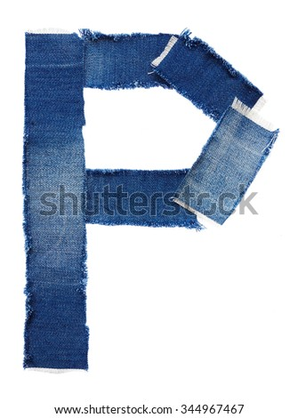 Alphabet from jeans fabric isolated on white background. Letter P - stock photo