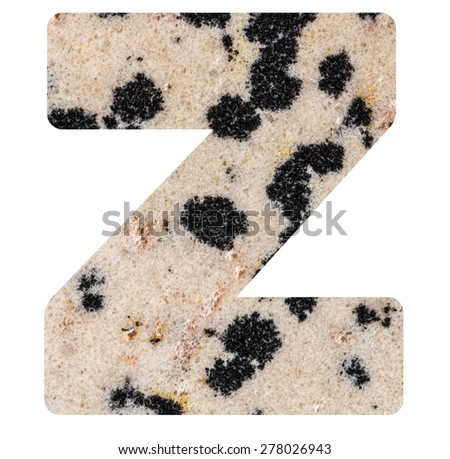 Alphabet from mineral porphyry  isolated on white background -  letter Z. - stock photo