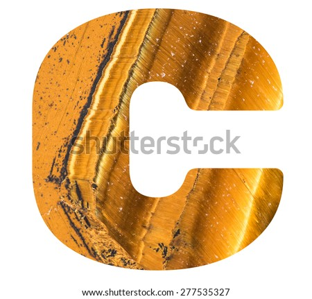 Alphabet from mineral tiger eye  isolated on white background -  letter C. - stock photo