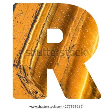 Alphabet from mineral tiger eye  isolated on white background -  letter R. - stock photo