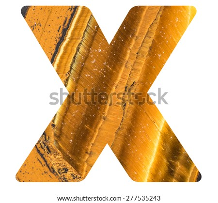 Alphabet from mineral tiger eye  isolated on white background -  letter X. - stock photo