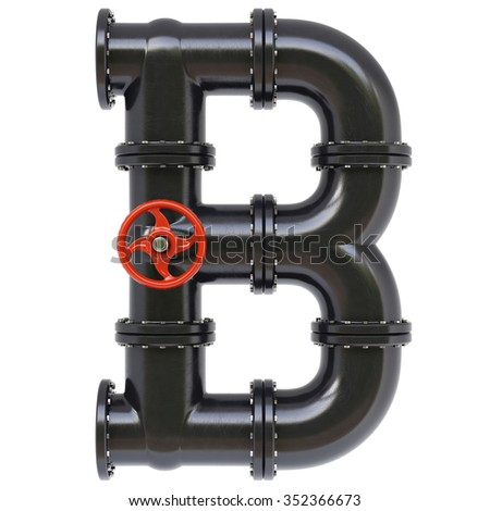 Alphabet from oil pipes. Isolated on white background. - stock photo