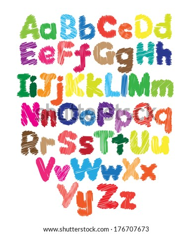 Alphabet kids doodle colored hand drawing in white background - stock photo