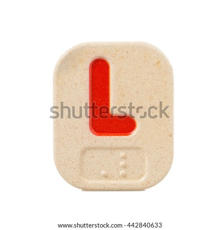 alphabet L on white background  with Braille. - stock photo