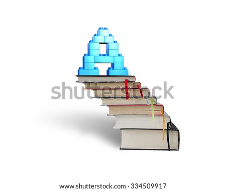 Alphabet letter A shape blocks on top of stack books stairs, isolated on white background. - stock photo