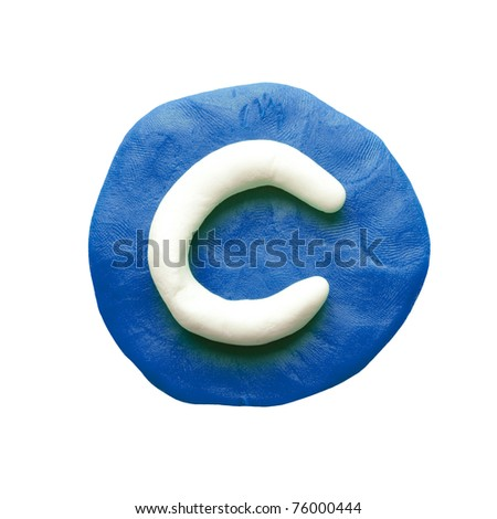 Alphabet letter using plasticine and clay. Letter C - stock photo