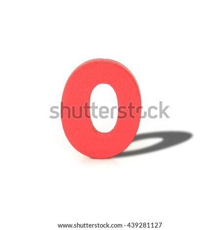 alphabet letter wood long shadow  on white background - stock photo