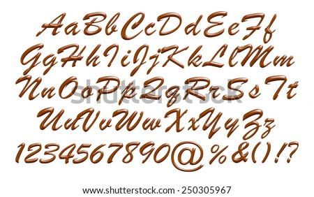 Alphabet letters, numbers and symbols made of chocolate syrup on isolated white background. - stock photo