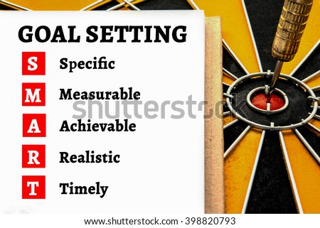 Alphabet letters words goal setting and acronyms of smart with dart target arrow on the center bullseye of dartboard, Smart goals concept, Abstract business background - stock photo